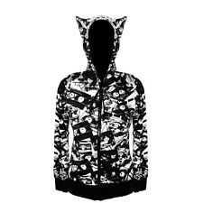 Womens Cassette Tapes Retro Fun Kitty Cat Ears Hoodie NEW 8 10 12