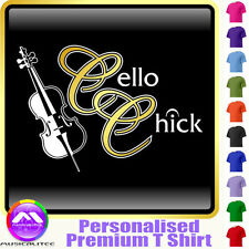 Cello Chick - Personalised Music T Shirt 5yrs - 6XL by MusicaliTee