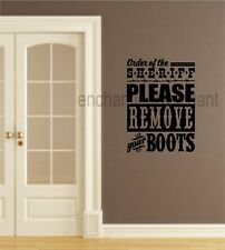 Remove Boots Fun Western Style Theme Vinyl Decal Sticker Lettering Words Gift