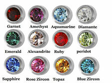 Studex + GENUINE maxi 6mm surgical steel BIRTHSTONE options ear piercing studs