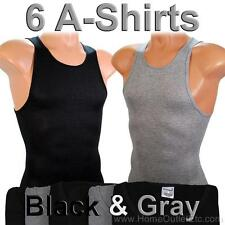 6 Men's A-Shirts Undershirt Ribbed Tank Top Wife Beater Underwear Black & Gray