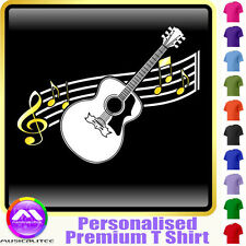 Acoustic Guitar Curved Stave - Custom Music T Shirt 5yrs-6XL MusicaliTee 2