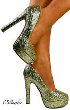 LADIES WOMENS SPARKLY GOLD GLITTER COURT STILETTO PARTY HIGH HEELS SHOE SIZE3-7