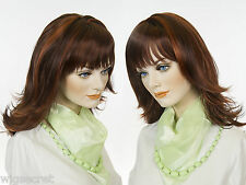 Soft Straight, Mid Length Blonde Brunette Red Wigs With Layered Wispy Bangs