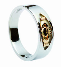 CLADDAGH Silver & 14ct Gold Heart Irish Ring Size J L N P R T - Made in Ireland