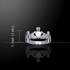 CLADDAGH & Irish Celtic TRINITY KNOT RING Size 6, 7 or 8 - .925 sterling silver