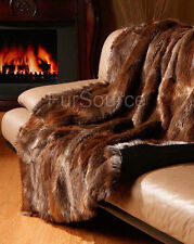 Premium Full Pelt Fur Blankets-Natural Beaver Fur Pelt Throw Queen and King Size