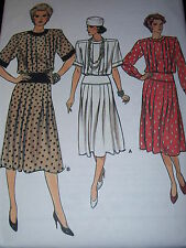 VOGUE #9343 LADIES PRETTY PLEATED BODICE - WIDE WAISTBAND DRESS PATTERN  8-18 uc