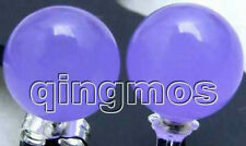 SALE 10mm AAA violaceous Perfect Round Jade earring & stude-ear283 Free Ship