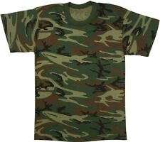 Woodland Camouflage Short Sleeve Military T-Shirt - USA Made