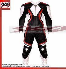 Racing Leather Motorcycle black-white One piece suit with Hump/titanium pad