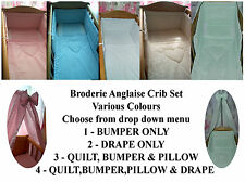 NEW BEAUTIFUL 3 piece crib set  BRODERIE ANGLAISE WHITE, IVORY,BLUE or PINK