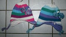 NEW Girls THE CHILDRENS PLACE Striped Knit Hat w/Ear Flaps ~Blue or Multi~ Inf/T