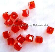 Orange Red Glass 4mm 5x6mm Square Cube Faceted Beads 100 pcs