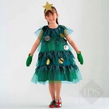 Deluxe Childs Christmas Tree Fancy Dress Costume with Star Hat & Present Shoe
