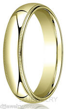 5mm 14K Yellow Gold Wedding Band Ring S11-11.75 Milgrain Comfort Fit 2mm Thick