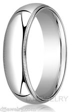 6mm 14K White Gold S11-11.75 Milgrain Comfort Fit 2mm Thick Wedding Band Ring