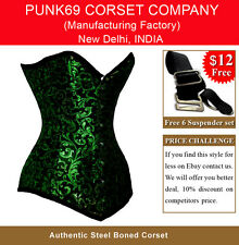 New Fully Steel Boned Extra Long Heavy Green Brocade Tight Lacing Corset