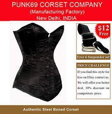 Sturdy Steel Busk Extra Long Black Satin Tight Lacing Overbust Corset EB-9051