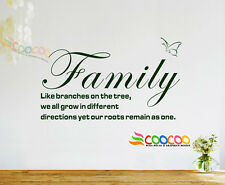 Family Branchese Quote Wall Decor Decal Sticker Mural Removable butterfly 0042A