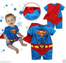 Baby Boy Girl Superboy Supergirl Fancy Dress Costume Bodysuit Outfit with Cape