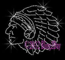 Indian Head Iron on Rhinestone Transfer Hot Fix Bling School Mascot Mom Warrior