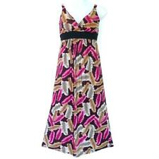 D13 - 1X 2X 3X Colorful Feather Print V-Neck Padded Sleeveless Maxi Dress Pink