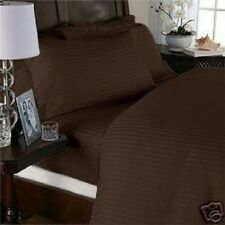 Sale 1000TC 100%Cotton Complete Soft UK Bedding Chocolate Striped Choose Itemss