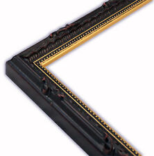 Narrow Ornate Black with Gold Lip Picture Frame-Solid Wood