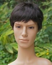 Men 's short full wig wigs hairpiece toupee wiggery,100% real natural human hair