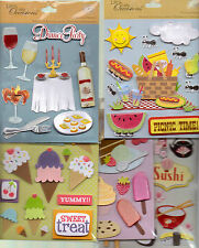 K & Co. Life's Little Occasions FOOD themed Sticker Medley~Dimensional~ BN~Cute!