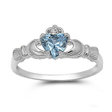 .925 Sterling Silver Claddagh Ring with AQUAMARINE CZ - Avail SZ 4 5 6 7 8 9 10