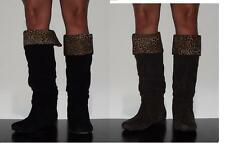New Womens Slouchy Faux Suede Riding Boots Black Brown Leopard Print  Sz 6-11