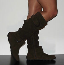 Womens Knee High Slouchy Riding Boots 2 Buckle Faux Suede Brown Size 7.5 - 8