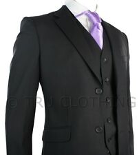 Mens Suit Black 3 Piece Work, Wedding or Party Suit Short Reg & Long UK