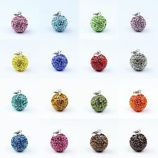 Geunine 925 Sterling Silver Colour Czech CZ Crystal Disco Ball Bead Pendant 14mm