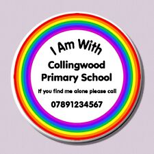 Safety Badges for School Trips - Emergency Contact Number - Personalised Option