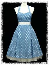 dress190 BLUE & WHITE CHIFFON POLKA DOT 50s ROCKABILLY PROM VINTAGE DRESS 8-26