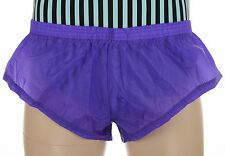 Mens Purple Rip-Stop Parachute Nylon Booty Shorts, Sheer Sprinter, Aussie Made