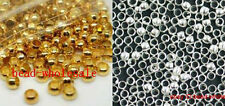500pcs Silver/Gold Plated Copper Rondelle Crimp End Spacer Beads Jewelry Making