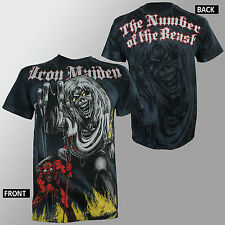 Authentic IRON MAIDEN Sketched Number Of The Beast ALLOVER T-Shirt S M L XL NEW