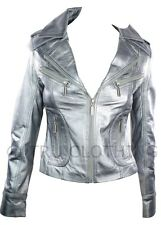 Ladies Short Leather Jacket Fitted Style silver metalic Retro