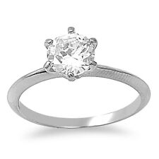 Stainless Steel Round Cut Clear CZ Solitaire Engagement Ring  Sizes 5 6 7 8 9 10