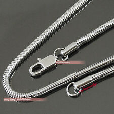 MENS BOYS Silver Tone 316L Stainless Steel Snake Round chain Necklace