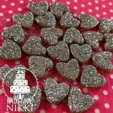 24 Edible HEARTS Glitter or Shimmer Cupcake toppers cake decoration TOP QUALITY