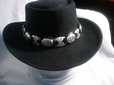 TONY LAMA SILVER/BLACK BAND GAMBLER HAT WESTERN NATSTRICKLENBELLSOUTH