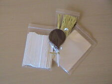 "25 x 4.5"" PAPER LOLLIPOP STICK KIT CAKE POP 3"" X 5"" CELLO BAG METALLIC TWIST TIE"