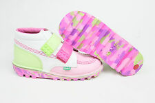 Kickers Kids Lego Strap G Leather Boots White/Pink/Green BNIB FREE UK P&P