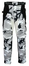 Grey White Camo Camouflage Motorcycle Trousers / Pants Waterproof & Armoured