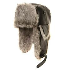 BLACK LEATHER LOOK TRAPPER HAT WITH GREY FUR TRIM. 3 sizes  1st class post